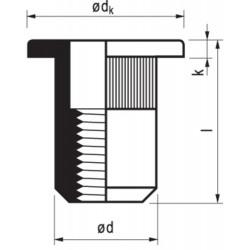 Blindmoer aluminium M4X12