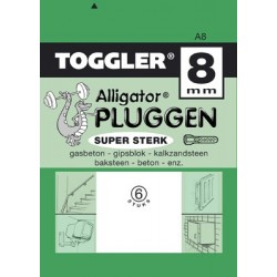 Alligatorplug A - 8mm 6 stuks