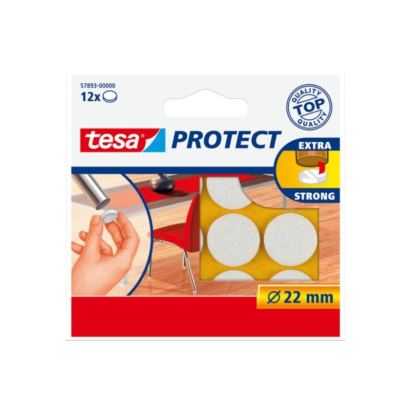 Viltschijf wit 22 mm Tesa 57893