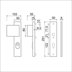 Duwgarnituur PC55 Links met kerntrekbeveiliging