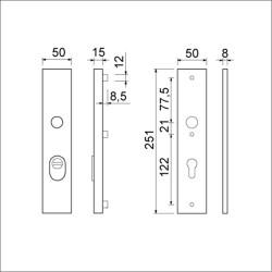 Langschild PC72 met kerntrekbeveiliging F1   891141